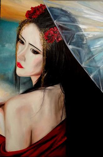 Japanese Geisha Arte figurativa em óleo sobre tela 70 X 100.